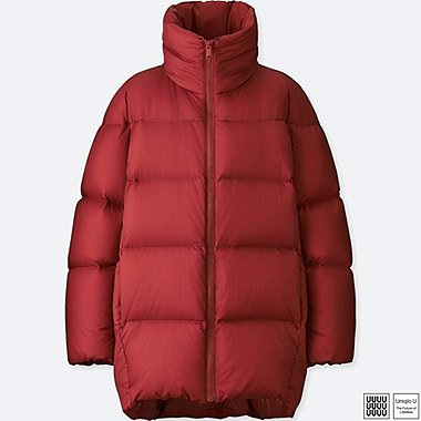 WOMEN U OVERSIZED DOWN JACKET, RED, medium
