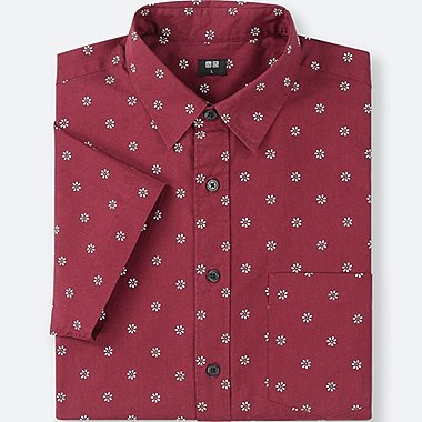 MEN BROADCLOTH PRINTED SHORT-SLEEVE SHIRT, RED, medium
