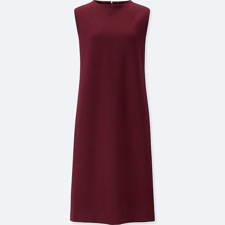 WOMEN PONTE SLEEVELESS DRESS, RED, large