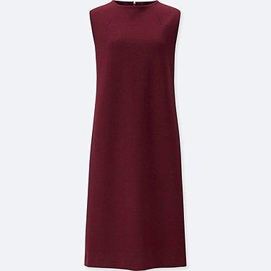 WOMEN PONTE SLEEVELESS DRESS, RED, medium