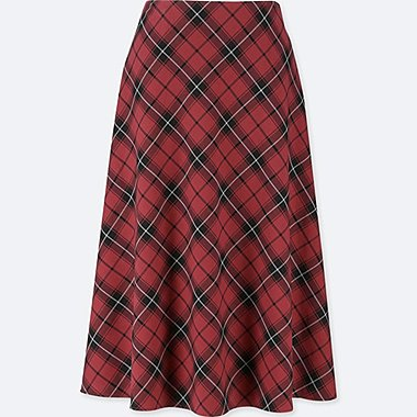 WOMEN HIGH WAISTED CHECKED FLARED SKIRT