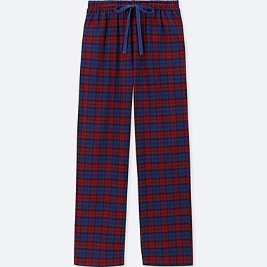 WOMEN PLAID FLANNEL PANTS, RED, medium