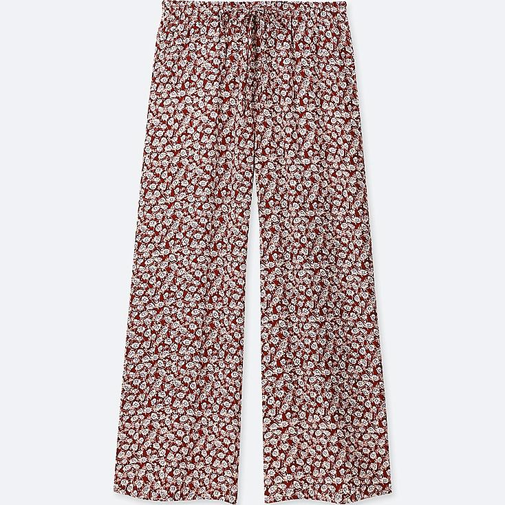 WOMEN DRAPE WIDE FLORAL PANTS, RED, large