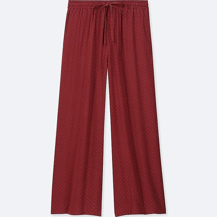 WOMEN DRAPE WIDE DOT PANTS, RED, large