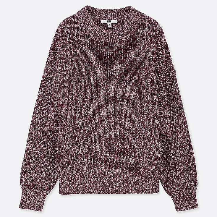 WOMEN COLOR MIXED DOLMAN SLEEVE SWEATER, RED, large