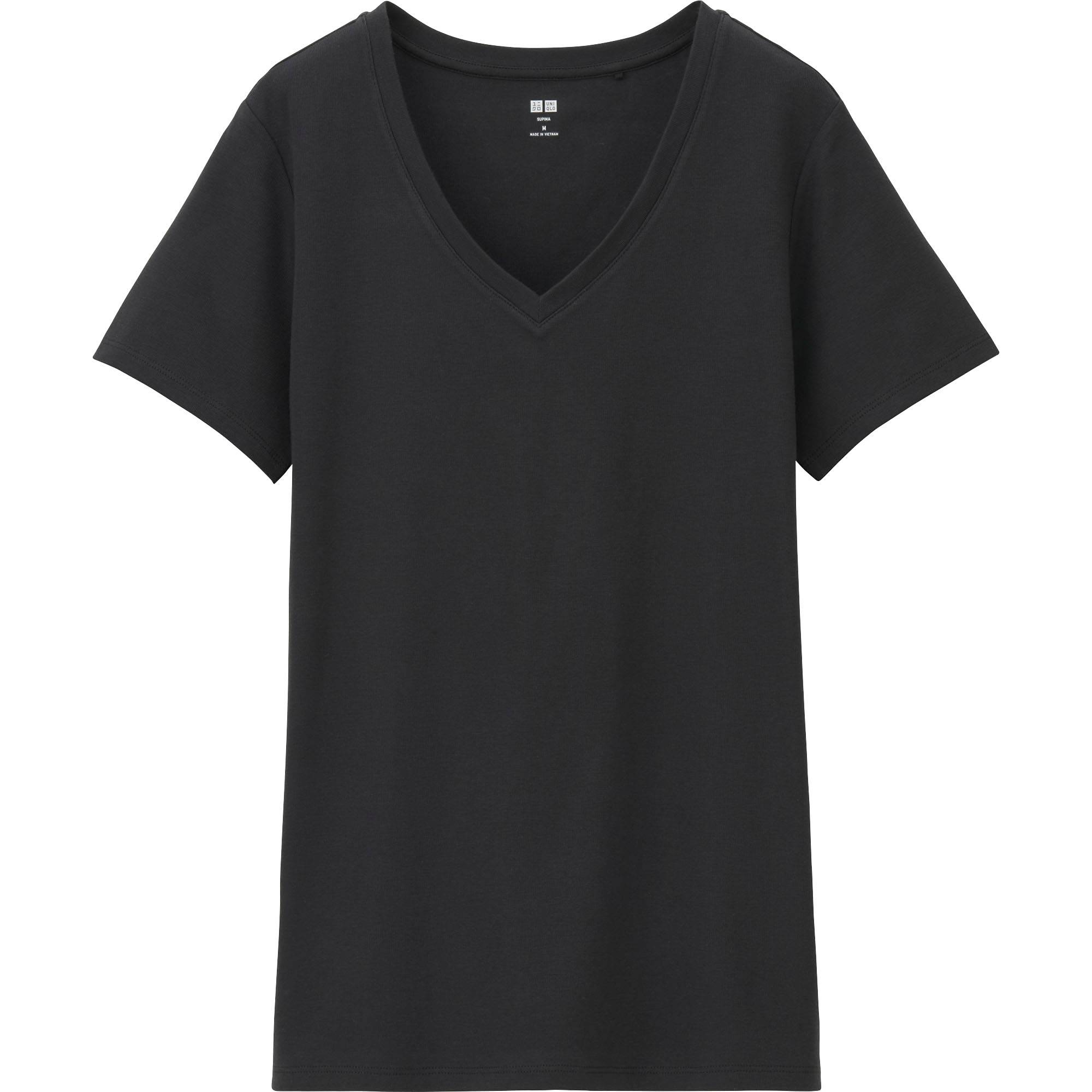 T shirt white black - Women Supima Cotton V Neck Short Sleeve T Shirt White