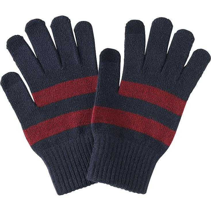 MEN HEATTECH KNITTED GLOVES, WINE, large