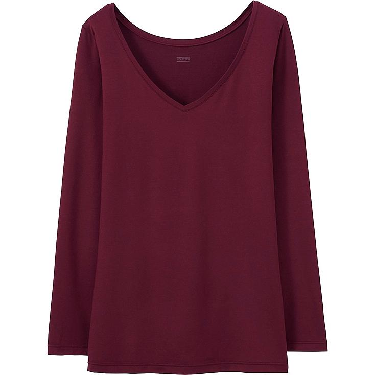 WOMEN HEATTECH TOP, WINE, large