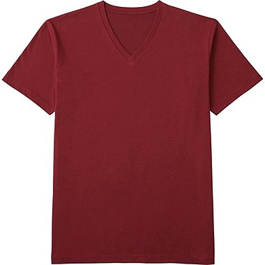 MEN PACKAGED DRY V-NECK SHORT SLEEVE T-SHIRT, WINE, medium