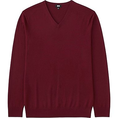 MEN EXTRA FINE MERINO V-NECK SWEATER, WINE, medium