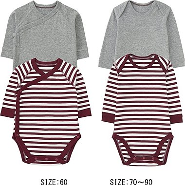 NEWBORN CREWNECK LONG SLEEVE BODYSUIT 2P, WINE, medium