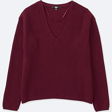 WOMEN CASHMERE BLEND V-NECK SWEATER, WINE, medium
