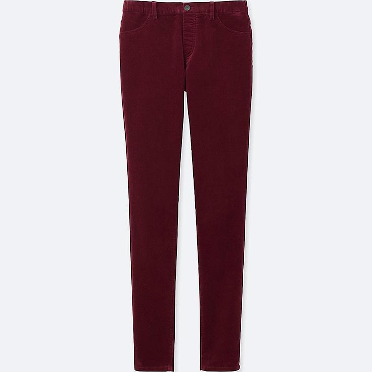 WOMEN CORDUROY LEGGINGS PANTS, WINE, large