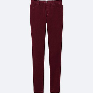 WOMEN CORDUROY LEGGINGS PANTS, WINE, medium