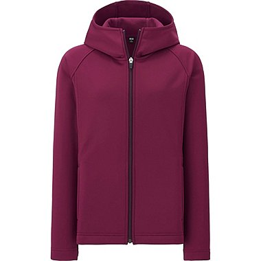 WOMEN BLOCKTECH FLEECE LONG SLEEVE FULL-ZIP HOODIE, WINE, medium