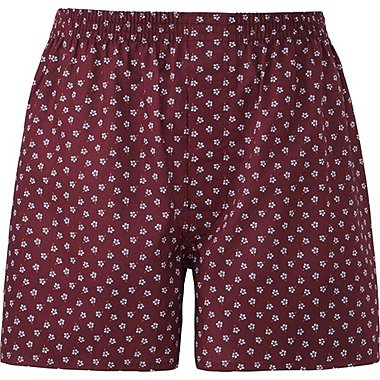 MEN WOVEN PRINTED TRUNKS, WINE, medium