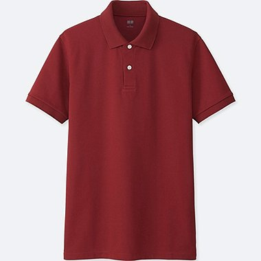 MEN DRY PIQUE SHORT SLEEVE POLO SHIRT, WINE, medium