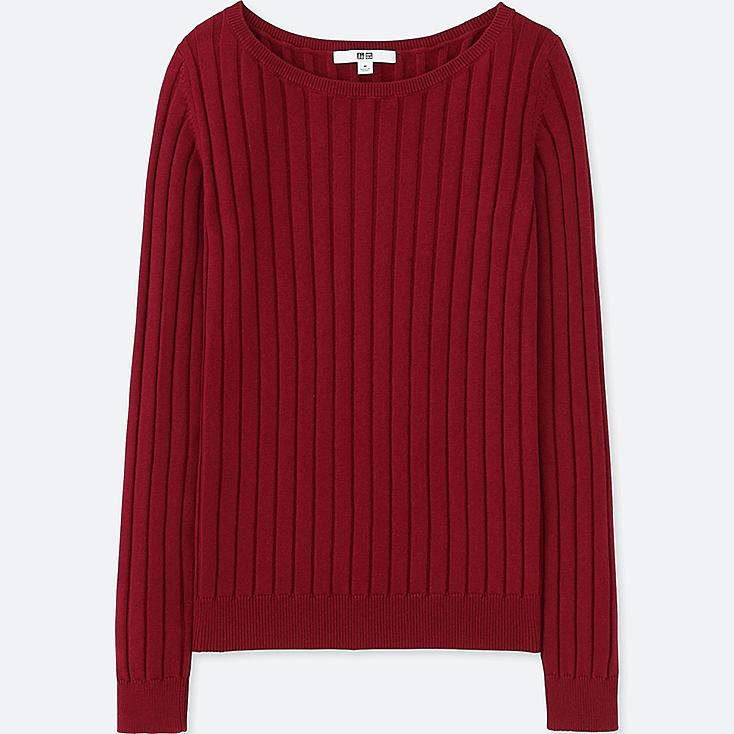 WOMEN COTTON CASHMERE WIDE RIBBED SWEATER, WINE, large