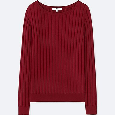 WOMEN COTTON CASHMERE WIDE RIBBED SWEATER, WINE, medium