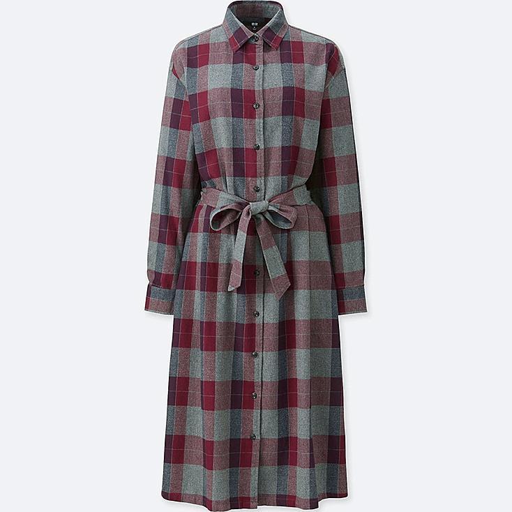 WOMEN Flannel Check Long Sleeve Shirt Dress