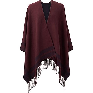 WOMEN 2-WAY STOLE, WINE, medium