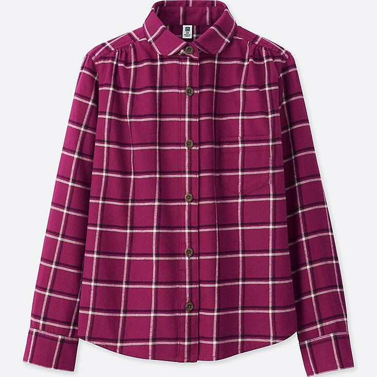Girls flannel check long sleeve shirt uniqlo us for Girl in flannel shirt