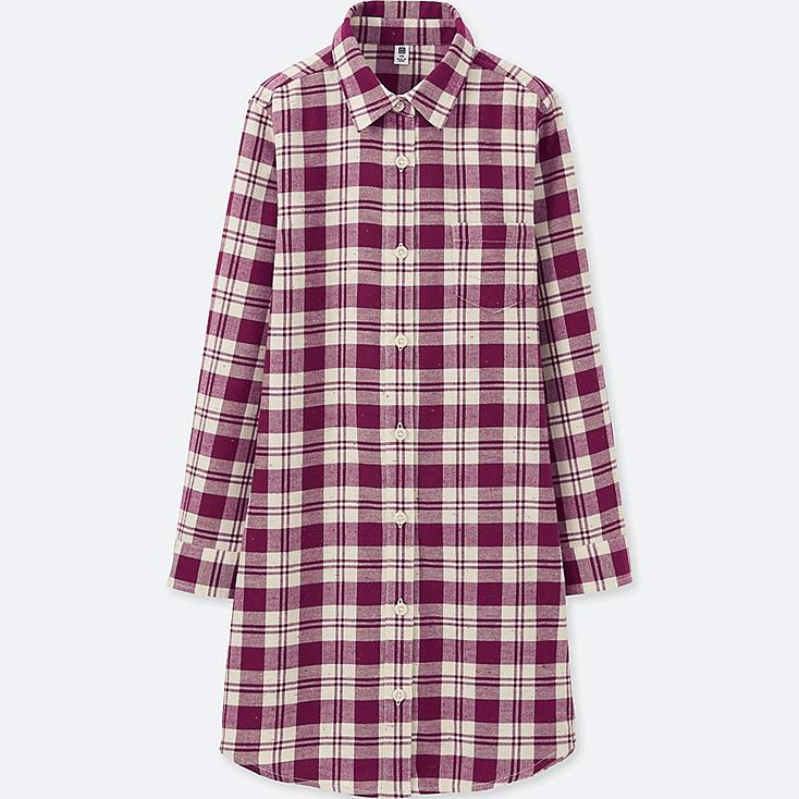 GIRLS FLANNEL LONG SLEEVE LONG SHIRT, WINE, large