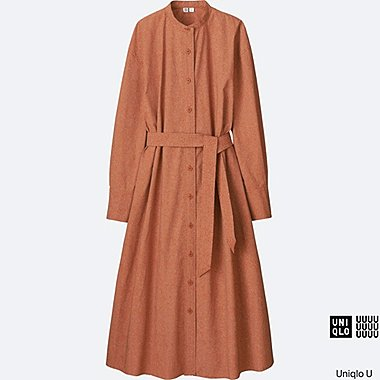 WOMEN Uniqlo U Oversized Cotton Printed Long Sleeve Long Shirtdress
