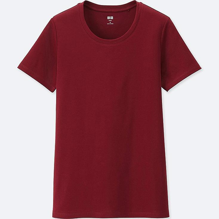 WOMEN SUPIMA® COTTON CREW NECK SHORT-SLEEVE T-SHIRT, WINE, large