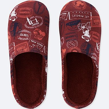 MICKEY TRAVELS SLIPPERS, WINE, medium