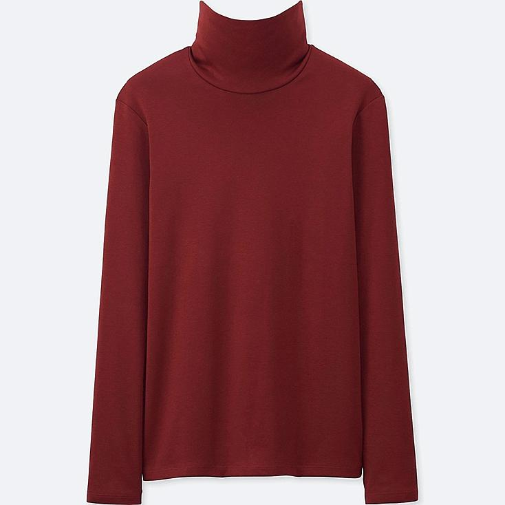 WOMEN SUPIMA COTTON LONG-SLEEVE TURTLENECK, WINE, large