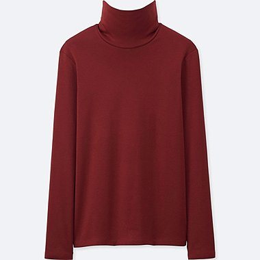 WOMEN SUPIMA COTTON LONG-SLEEVE TURTLENECK, WINE, medium