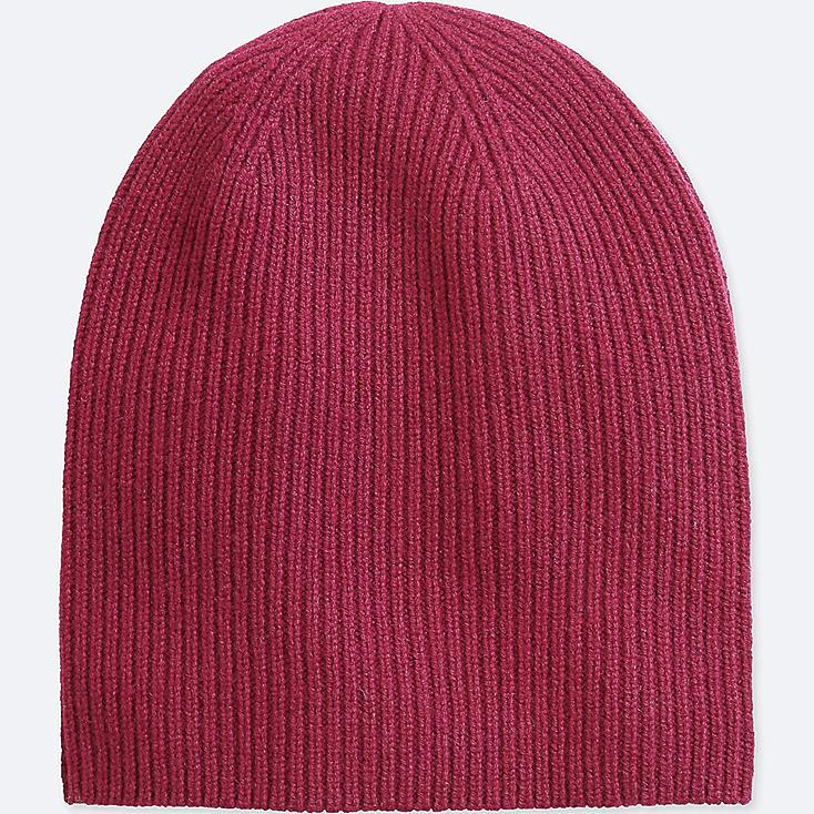 CASHMERE KNITTED BEANIE, WINE, large