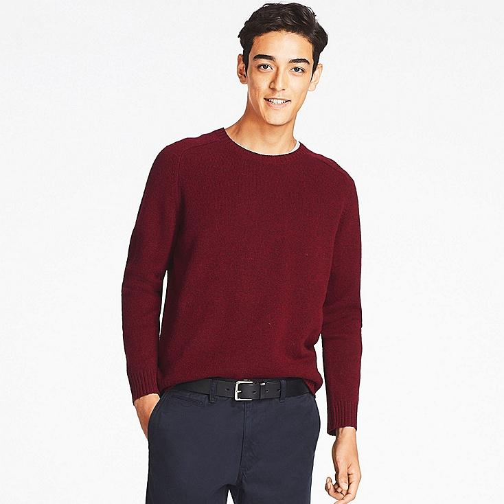Lambswool Crew Neck Sweater, WINE, large