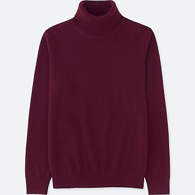MEN CASHMERE TURTLENECK SWEATER, WINE, medium