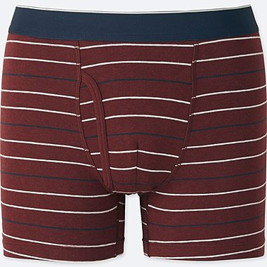 MEN SUPIMA COTTON STRIPED BOXER BRIEFS, WINE, medium