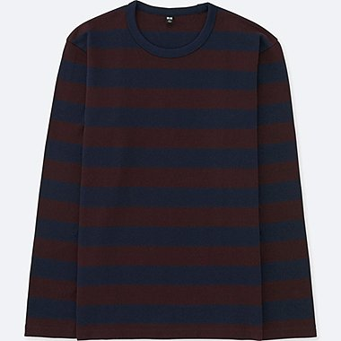 MEN WASHED STRIPED CREW NECK T-SHIRT, WINE, medium