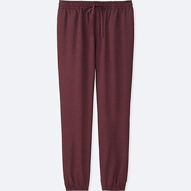WOMEN DOT-PRINT DRAPE PANTS, WINE, medium
