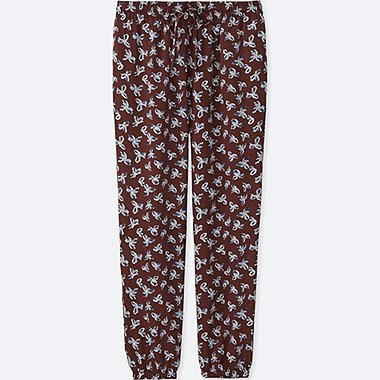 WOMEN FLORAL-PRINT DRAPE PANTS, WINE, medium