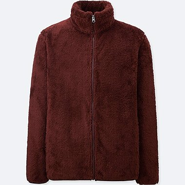 MEN PILE-LINED FLEECE LONG-SLEEVE FULL-ZIP JACKET, WINE, medium