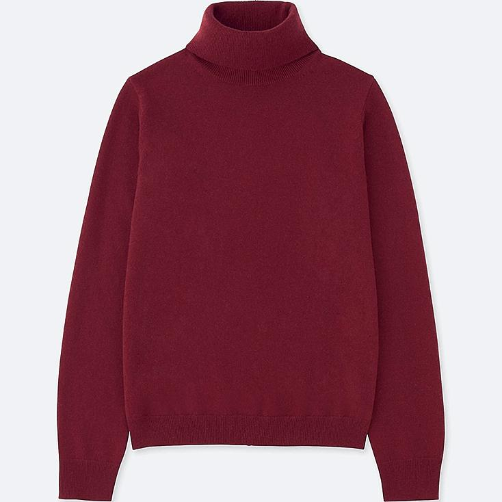 WOMEN CASHMERE TURTLENECK SWEATER, WINE, large