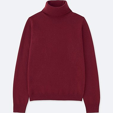 WOMEN CASHMERE TURTLENECK SWEATER, WINE, medium