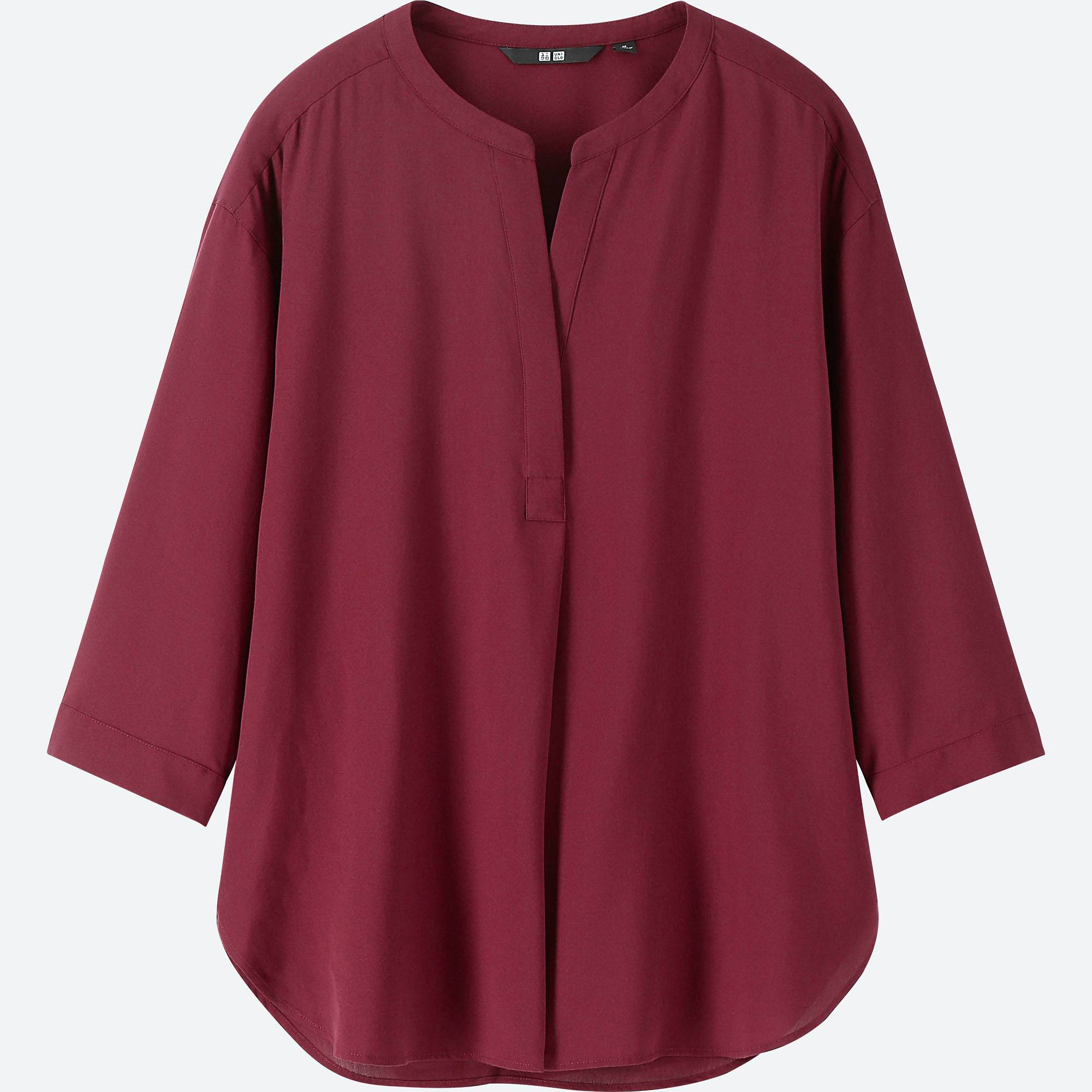 UNIQLO / Shirts And Blouses women rayon skipper collar 3/4 sleeve blouse