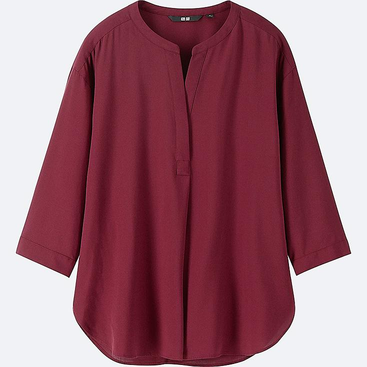 WOMEN RAYON SKIPPER COLLAR 3/4 SLEEVE BLOUSE | Tuggl
