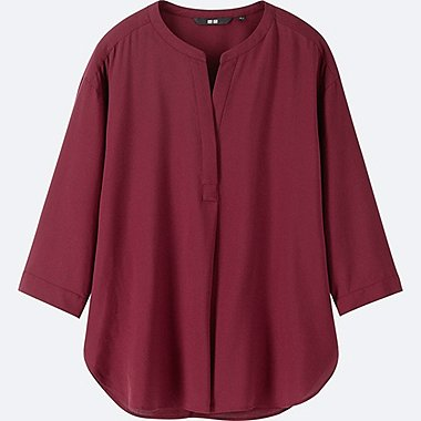 WOMEN RAYON SKIPPER COLLAR 3/4 SLEEVE BLOUSE, WINE, medium