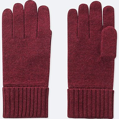 CASHMERE KNITTED GLOVES, WINE, medium