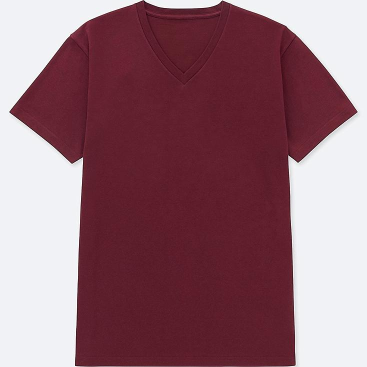 MEN PACKAGED DRY V-NECK SHORT-SLEEVE T-SHIRT, WINE, large