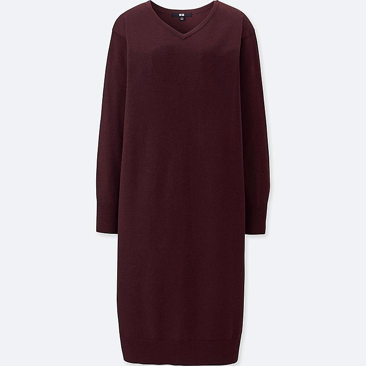 WOMEN MERINO-BLEND V-NECK LONG-SLEEVE DRESS, WINE, large