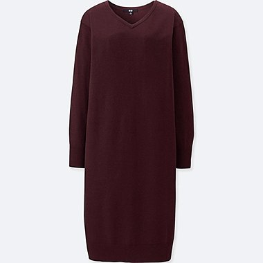 WOMEN MERINO-BLEND V-NECK LONG-SLEEVE DRESS, WINE, medium