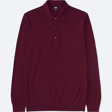 MEN EXTRA FINE MERINO KNIT LONG-SLEEVE POLO SHIRT, WINE, medium